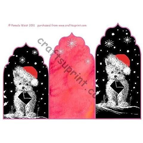 Babbo Natale Westie Elegants Cascade Trifold crhistmas Card by Pamela West