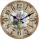 dufgbiSchöne Blumenmuster-runde Uhr noch Haus-Café-Büro-Küchen-Wand-Dekoration-große Kunst-Wanduhr, A2