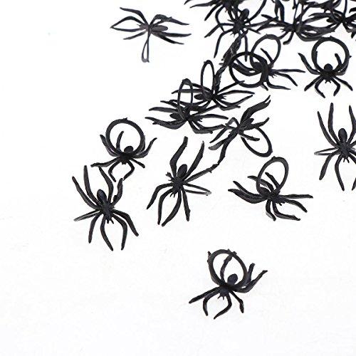 YeahiBaby 144 Piezas Anillo de Juguete Plástico Anillo de Dedo Araña, 3.8x2.5 cm Anillos de Araña Negro para Niños Adultos Halloween Props Bolsos de Fiesta