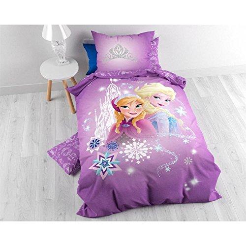 Character World-Funda nórdica de 140x 200cm + funda de almohada de 60x 70cm bajo licencia Anna y Elsa de Frozen 100% algodón rosa 24x 30cm