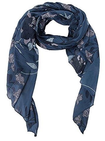 Seiden-Tuch für Damen mit Blümchen-Muster von Zwillingsherz / Elegantes Accessoire / Blumen / Seiden-Schal / Halstuch / Schulter-Tuch oder Umschlagstuch einsetzbar - blau