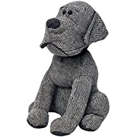 """Riva Paoletti Herringbone Dog Doorstop - Grey - Heavyweight Sand Filling - Polyester and Acrylic - 17 x 18 x 30cm (7"""" x 7"""" x 12"""" inches) - Designed in the UK"""