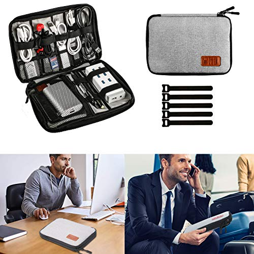 Elektronik Organizer, Muscccm Reise Kabeltasche Kopfhörer Tasche für Handy Mini iPad, USB Cable Power Banks Festplatte,stifte mit 5 Kabelbindern, Grey thumbnail