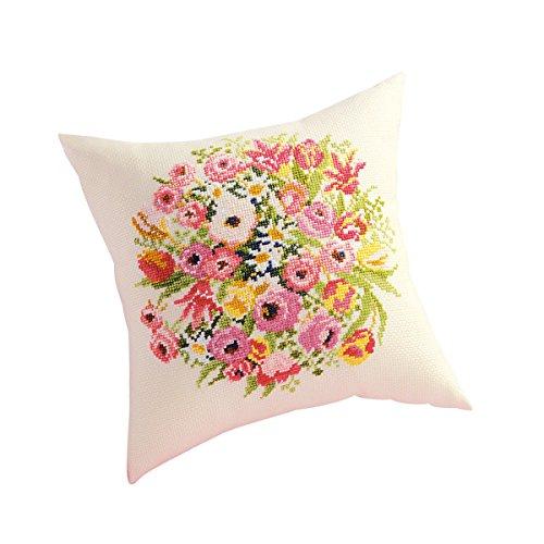 Stickerei-Kit 5992 (beige) Kissen rosa Ranunkeln 4514g (Japan-Import) (Stickerei Kissen Kit)
