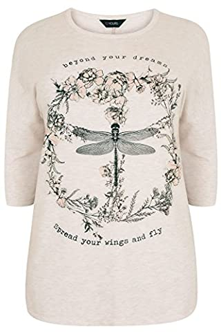 Womens Oatmeal Dragonfly Slogan Print Jersey Sweat Top Plus Size