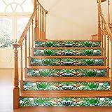 PANPPANY Stickers d'escalier Autocollant Sticker Carrelage Mural Auto-adhésif en PVC Étanche Décoration Chambre Sticker Autocollant contremarche Carreaux de ciment Noir Blanc-18 x600cm