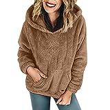 iHENGH Damen Winter Jacke Dicker Warm bequem Parka Mantel Kapuzenpulli Wolltaschen Baumwollmantel Outwear(EU-48/CN-XL,Khaki)