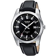 Casio Collection – Reloj Hombre Analógico con Correa de Cuero Auténtico – BEM-116L-1AVEF