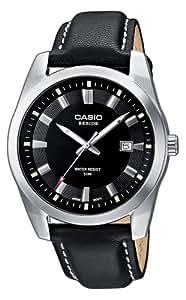 Casio Collection Herren-Armbanduhr Leder Analog schwarz BEM-116L-1AVEF