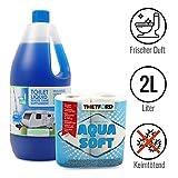 Toilettenflüssigkeit für Chemietoiletten 2 Liter + Thetford Aquasoft Toilettenpapier für Wohnmobile
