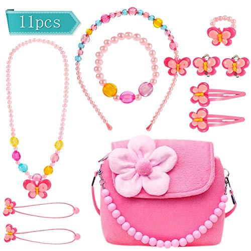 Specool gioielleria per bambini bambine simpatiche borse in peluche con collana bracciale anello e orecchini set di gioielli la mia prima borsa per bambine vesti e giochi di ruolo