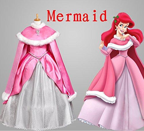 Sunkee Halloween Adult Prinzessin Mermaid Princess Ariel Pink Kleid Cosplay, Maßgeschneidert (Geben Sie uns Ihr Gewicht, Höhe, Breite Schulter, Taille, Brust und Hüfte (Kostüme Prinzessin Für Erwachsene Ariel)