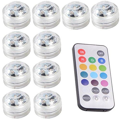 10pcs Unterwasser-LED-Lichter Wasserdichte Unterwasserlichter SMD 3528 RGB Stimmungs-Lichter für Vase, Schüsseln, Aquarium und Parteidekoration IR-Fernsteuerungs