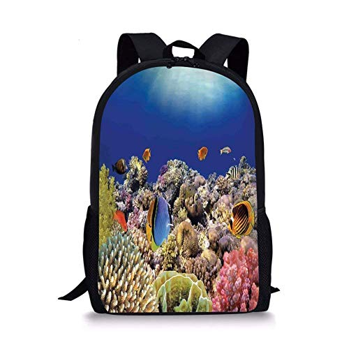 gthytjhv Ocean,Wild Sea Life Colorful Ancient Coral Reefs Exotic Fishes Bali Indonesia,Tan Blue and Orange Boy Girl School Backpack Mens Womens Sports Bag