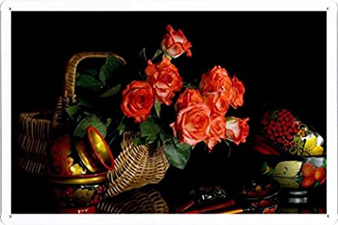 Affiche Métal Poster Tin plaque de signalisation Flower Tin Sign Roses Flowers Bouquet Basket Ware Russian Folk Painted Khokhloma 33918 Retro Vintage Décoration murale by hamgaacaan (20x30cm)