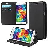 ECENCE Samsung Galaxy S5 mini Handy-Tasche Flip Cover Book Case Schutz-Hülle Etui Wallet Schale Schwarz 13030204