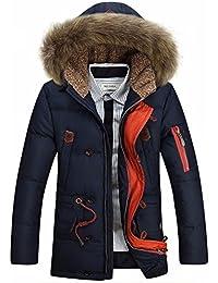Glestore Hommes Manteau Epais Padded Parka Outwear Détachable en Fourrure Capuche Jacket Windproof Hiver