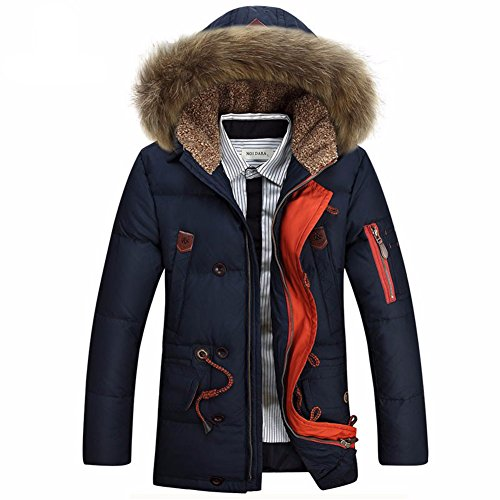 Glestore Mens Detachable Fur Hood Jacket Windproof Winter Coat Thick Padded Parka Outwear (S, navy blue1)