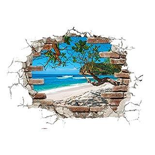 Komar - Deco-Sticker BREAK OUT- 50 x 70 cm -  Wandtattoo, Wandbild, Wandsticker, Wandaufkleber, Walltattoo, Ausblick, Steinmauer, Sticker, Strand, Meer, Ziegel - 17054h