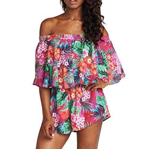 Two pieces VENMO Art- und Weisefrauen-Rüsche drucken weg von den Schulter Schrägstrich Ansatz-Oberseiten + kurze Hosen eingestellt (S, Hot Pink) (Kimono Reversible)