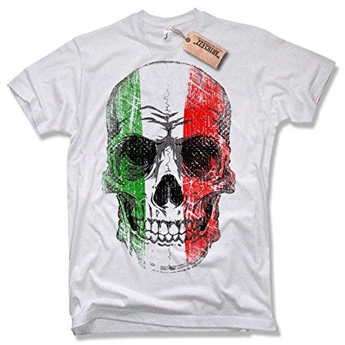 ITALY SKULL T-Shirt, Italien, Totenkopf, verschiedene Farben, Gr. S – XXL weiß / white