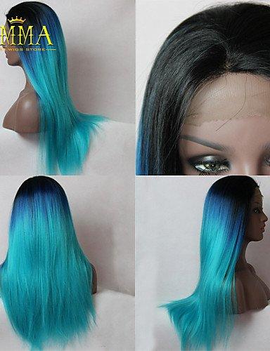 BBDM nuova parrucca ombre nero al blu romantico lunga parrucca diritto naturale remy mano molle del merletto legata parrucca anteriore