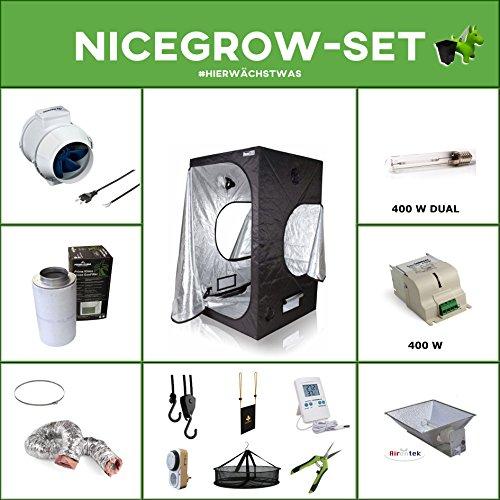 Growset Dark Box Serie 120 VSG Duallampe 400W komplette Belüftung Komplettset