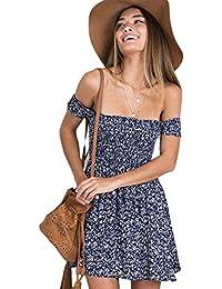 d7728bbb28d3a Mescara Damen Sommerkleid Schulterfrei Blumen Minikleid Kurz Casual Kleid  Strandkleid mit hoher Taille Schulter sexy…