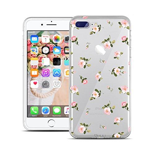 HULI Design Case Hülle für Apple iPhone 7 Plus mit Rosen Muster - Handy Schutzhülle klar aus Silikon mit romantischen Blumen Romantik - Handyhülle durchsichtig mit Druck