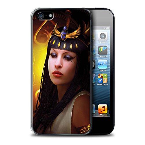 Officiel Elena Dudina Coque / Etui pour Apple iPhone SE / Loups Blancs Design / Les Animaux Collection Cleopatra/Serpent Doré
