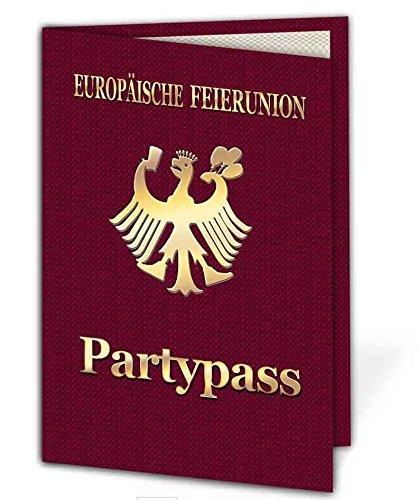 50 x Party Pass Einladungskarten als Klappkarte Einladung zum Geburtstag auf Wunsch mit Foto - 50 Stück Mann Frau lustig