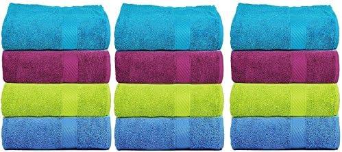 Casa Copenhagen Eternal Super Soft Cotton 12 Pack Face Towels Set -Multi Colour (12 x 12 inches Wash Cloths)