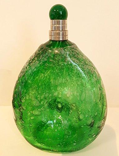 Carafe en verre avec bulles d'air, soufflé à la bouche Bouteille de style antique, Vert Vase en verre avec un bouchon à vis en étain, contenu Environ 0.5 litres et d'une hauteur de 19–21 cm