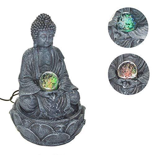 DRULINE Belgium Zimmerbrunnen Buddha Lotus mit LED Kugel, Höhe 30 cm