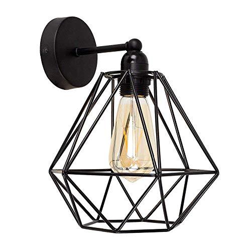 Vintage Metall Draht Käfig Lampenschirm Wandlampe Deckleuchte - Modern Industrielle DIY Halter Schatten Lampe Stehlampe Wandleuchte Hängeleuchten Pendelleuchten für Küchen Schlafzimmer,Schwarz -
