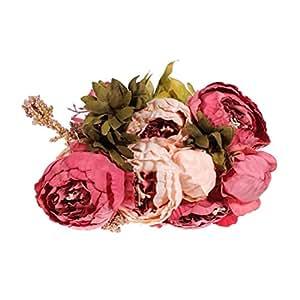 WINOMO Fiore di peonia fiori Bouquet seta
