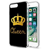 Eouine Coque iPhone 6s Plus, Coque iPhone 6 Plus, Etui Silicone 3D Transparente avec Motif Design [Antichoc] Bumper Case Cover Housse Coque pour Apple iPhone 6s Plus / 6 Plus 5.5 Pouce (Queen, Or)