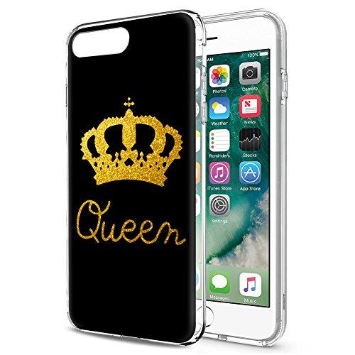 Eouine iPhone 6s Hülle, Schutzhülle Silikon mit King und Queen Krone Muster Design, Handyhülle [Ultra Dünn] Slim Stoßfest Weich TPU Bumper Case Cover für Apple iPhone 6s / 6 (Queen, Gold)