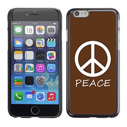 Graphic4You Peace Sign Friedenszeichen Design Harte Hülle Case Tasche Schutzhülle für Apple iPhone 6 / 6S (Königsblau) Braun