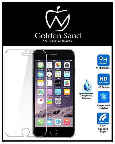 Golden Sand Premium Tempered Glass Screen Protector Guard Ultra Clear 0.3mm 2.5D 9H Pack of 2 for Apple iPhone 6