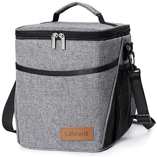 Lifewit borsa termica isoterma per alimenti mantenere caldo o freddo per picnic ufficio scuola9l,grigio