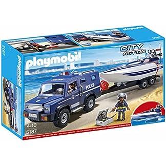 Playmobil Policía – Coche de policía con lancha remolque (5187)