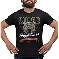 T-Shirt Super Papa Ours, espèce protégée, Tee Shirt Humour Homme, Cadeau Papa