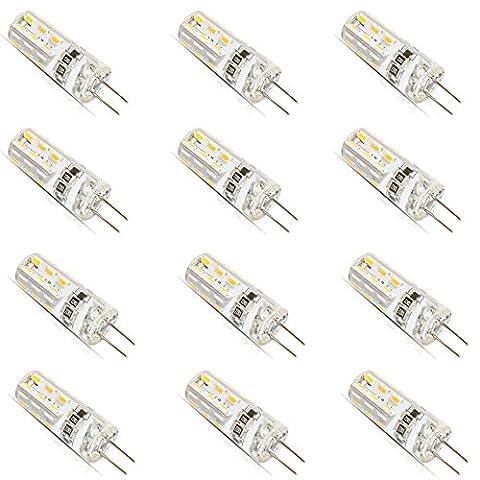12 Stück G4 LED Leuchtmittel Glühbirne 1.5 Watt DC 12V G4 24 * 3014-SMD LED Lampe, Ersatzteil für 10W Halogen Lampe,