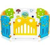 BABY VIVO Parque corralito plegable puerta robusto plastico bebe barrera de seguridad jugar - Colors de Plástico