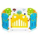 Baby Vivo Laufgitter Laufstall Baby Absperrgitter Krabbelgitter Schutzgitter für Kinder aus Kunststoff mit Tür und Spielzeug - COLORS erweiterbar - Modell 2018