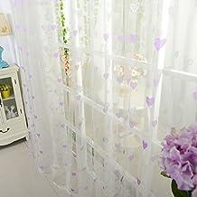 """hobomark Coeur Romantique Imprimé Drapé Panneau Voilage Rideaux fenêtre cantonnière, Violet, 1M/39.4"""" Width x 2M/78.8"""" Length"""