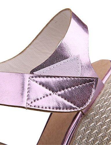 LFNLYX Scarpe Donna-Sandali-Matrimonio / Formale / Casual / Serata e festa-Zeppe-Zeppa-Finta pelle-Blu / Rosa / Argento / Dorato Silver