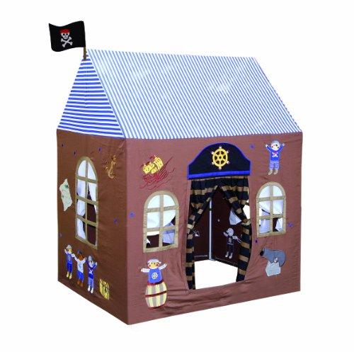 Spielhaus Pirat aus Baumwolle, für drinnen und draußen geeignet, detailreich gestaltet, mit Vorhängen an Fenstern und der Tür und einer Fahne, die über dem Eingang weht, regt zum Rollenspiel an