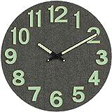 MixArt Horloge Murale en Bois Lumineux, silencieuse, Anti-tic-tac avec Fonction veilleuse Grand Chiffres 3D en Gras Fonctionne à Piles pour Le Salon ou la Chambre